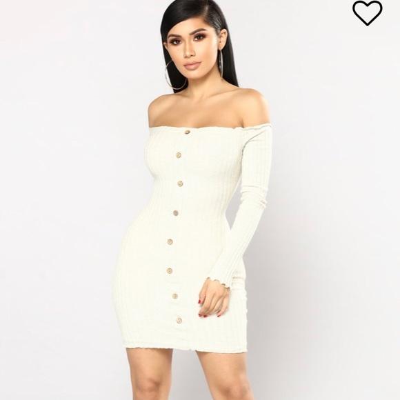 6c38f9ac40a06 FashionNova Jacklyn Off Shoulder Mini Dress